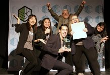 Members of the Enactus Fleming College team behind Paper Plant Project (with Fleming College professor of business studies and lead Enactus faculty advisor Raymond Yip Choy at the back) celebrating their win of the grand prize at the fifth annual Cubs' Lair entrepreneurship competition, held on November 21, 2019 at the Gordon Best Theatre in downtown Peterborough. This is the third prize since September for the Paper Plant Project, a social enterprise that produces paper planters from recycled paper waste as educative kits for schools to promote biodegradable practices. (Photo courtesy of Innovation Cluster)