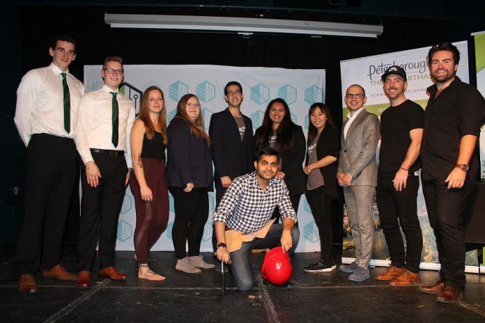 Seven entrepreneurs (or teams) competed during the fifth annual Cubs' Lair entrepreneurship competition, held on November 21, 2019 at the Gordon Best Theatre in downtown Peterborough. (Photo courtesy of Innovation Cluster)