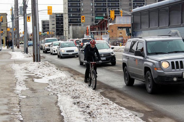 Winter weather gets us thinking about road safety again. There are many behaviours we adopt to keep each other safe on the streets, but there are also ways that road design can keep us safe, and it turns out that the safety benefits of adding bike infrastructure are better for all road users. (Photo: GreenUP)