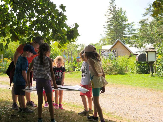 Participants in the Earth Adventures summer camp study insects that live in the tree canopy at GreenUP Ecology Park. Visible in the background are the new children's education shelter and open-air classroom that were completed in 2018 thanks to generous community donations. (Photo courtesy of GreenUP)