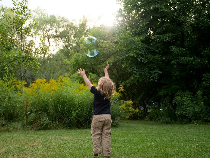 A child chases a soap bubble during Family Night at GreenUP's Ecology Park. Every year, the park immerses thousands of visitors in pollinator habitats and demonstration gardens, complemented by excellent educational programming for children and adults. Donations to Ecology Park will allow GreenUP to make the park even more accessible to visitors.  (Photo courtesy of GreenUP)