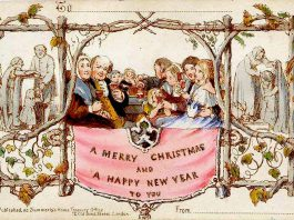 The first commercial Christmas card was sold in Britain in 1843, after civil servant Sir Henry Cole decided he was too busy to write individual Christmas greetings and asked artist John Callcott Horsley to design a card he could fill out. The idea caught on, and mass-produced greeting cards soon replaced hand-written greetings in most of Europe and North America. Today, despite the ubiquity of the internet, the greeting card industry still produces seven billion physical cards each year with annual sales of $7.5 billion. It is estimated that producing and sending all these cards generates as many as 1.1 million tons of carbon dioxide. (Public domain photo)