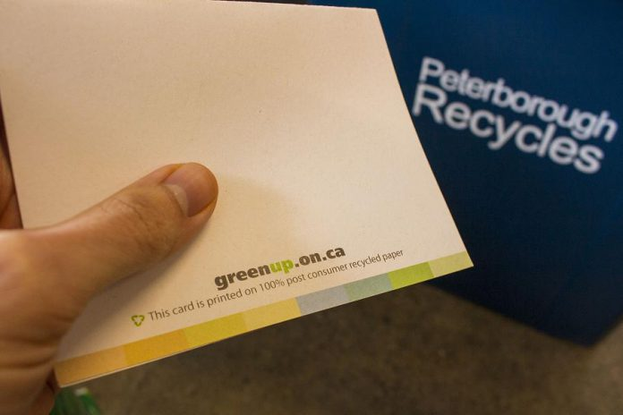 For people who prefer to give cards, the good news is that most cards and envelopes are recyclable if they are made exclusively from paper, and some cards are made from entirely post-consumer recycled paper. (Photo courtesy of GreenUP)