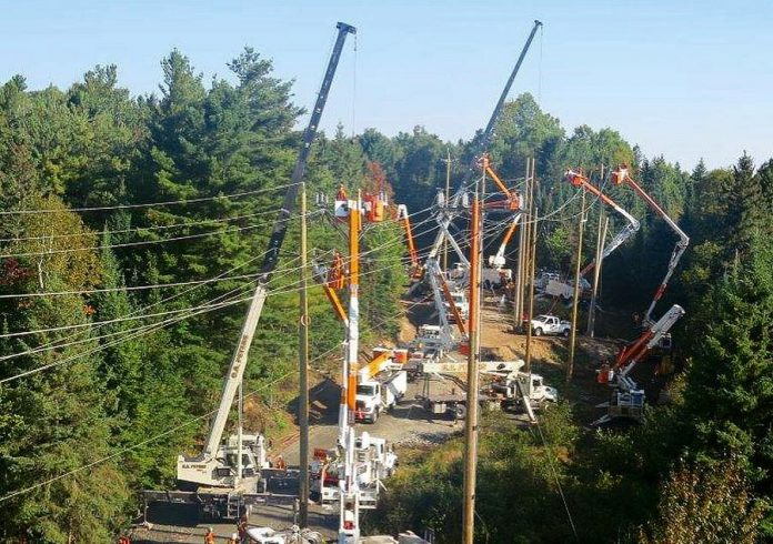 Hydro One crews installing smart switches on lines in the Bancroft and Barry's Bay area in September 2018. The smart switches help to reduce the frequency and duration of power outages while limiting the number of customers impacted. Hydro One will be installing four smart switches in Haliburton County and replacing 24 wooden poles during a planned power outsage on November 24, 2019. (Photo: Hydro One / Instagram)
