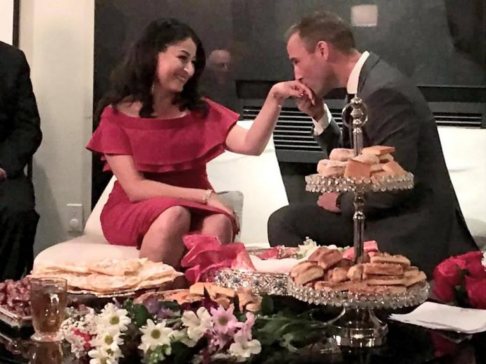 Liberal MP for Peterborough-Kawartha Maryam Monsef and former Liberal MP for Fredericton Matt DeCourcey celebrate their engagement at a family gathering in Peterborough on November 7, 2019. (Photo: Maryam Monsef / Facebook)