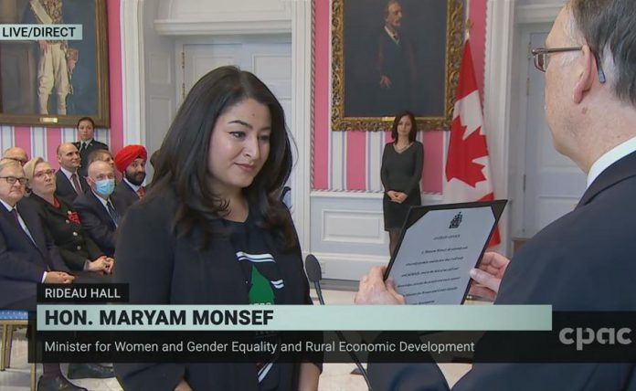 Peterborough-Kawartha MP Maryam Monsef prepares to take the oath of office as the Minister for Women and Gender Equality and Rural Economic Development at Rideau Hall in Ottawa on November 20, 2019. (Photo: CPAC)