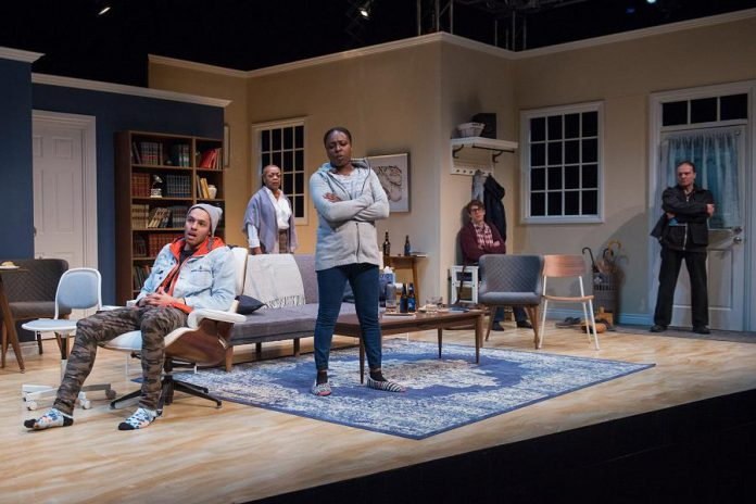 "Khadijah Roberts-Abdullah (centre) and Richard Zeppieri (far right) performing as Lila Hines and Tony Cappello in the original 2018 Factory Theatre production of ""Bang Bang"" by Kat Sandler. The two actors reprise their roles in the New Stages' staged reading of the play at the Market Hall Performing Arts Centre on November 10, 2019, joined by Andrew Chown as Tim Bernbaum, Tarick Glancy as Jackie Savage, and Ordena Stephens-Thompson as Karen Hines.  (Photo: Joseph Michael Photography)"