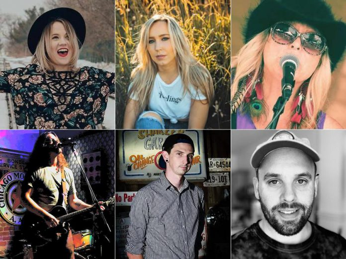 Acoustic performers in the lower-level Nexicom Studio at Showplace are (left to right, top to bottom):  Hillary Dumoulin, Elyse Saunders, Tami J. Wilde, Jacques Graveline, James Higgins, and Nick Ferrio. Also performing (not pictured) are Phil Stephenson and Victoria Pearce with Mike Graham. Jake Dudas (not pictured) will be performing in Showplace's street-level lobby.