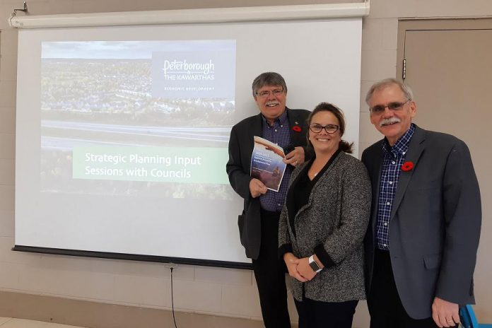 Peterborough County Warden J. Murray Jones (left), PKED President and CEO Rhonda Keenan (centre), and Peterborough County Deputy Warden Andy Mitchell (right) met during one of the PKED Strategic Plan Input Sessions at the Douro Community Centre on Friday, November 1st. (Photo: Andy Mitchell / Twitter)