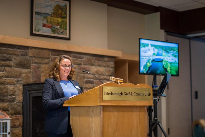 Peterborough & the Kawarthas Economic Development CEO and president Rhonda Keenan speaks at the 2019 TD Economic Outlook Luncheon at the Peterborough Golf & Country Club on October 30, 2019. (Photo: Alyssa Cymbalista)