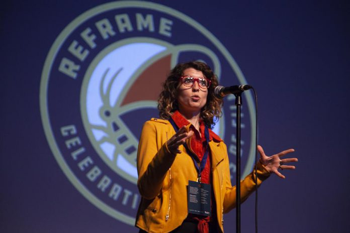 """Filmmaker Jeannette Breward speaks to audiences about her process following the screening of """"60 Seasons"""" at ReFrame 2019. (Photo: Natelie Herault)"""