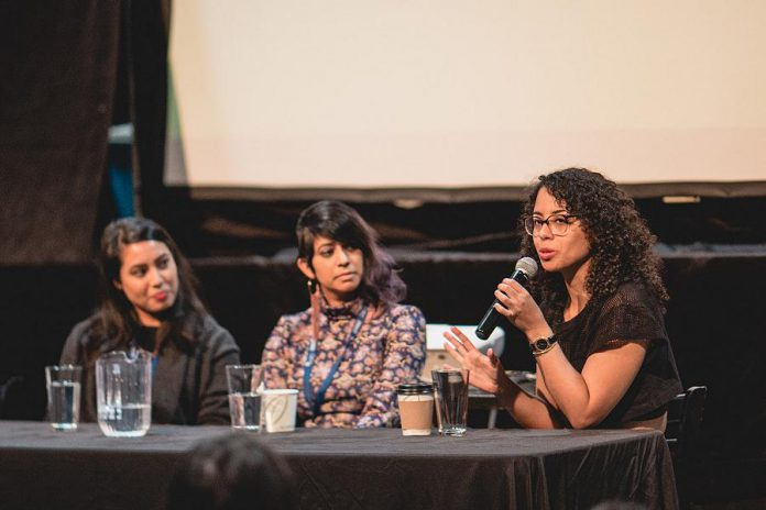 """Filmmakers Chrisann Hessing (left), Maya Bastian (centre), and Maya Annik Bedward (right) examined the risks in sharing personal stories through film in the panel discussion """"Who Gets to Share My Story?"""" at The Venue in downtown Peterborough during the 2019 ReFrame Film Festival.  (Photo: Bryan Reid)"""