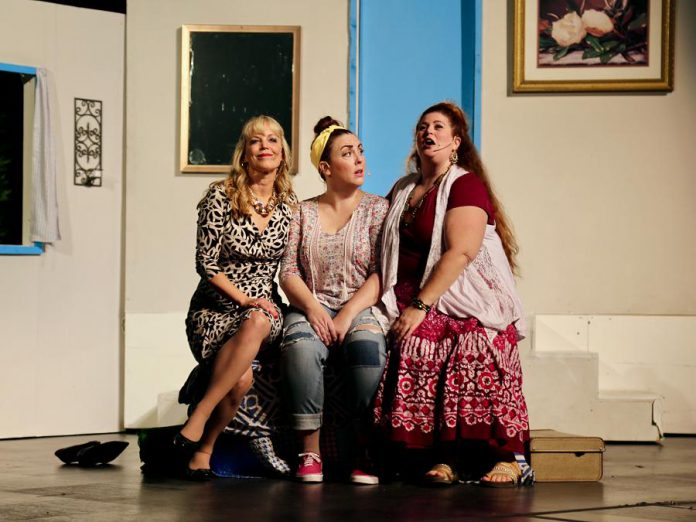"""Donna and the Dynamos (Christie Freeman as Tanya, Natalie Dorsett as Donna, and Lyndele Gauci as Rosie) in the St. James Players production of the hit musical """"Mamma Mia!"""". (Photo: Wendy Morgan)"""