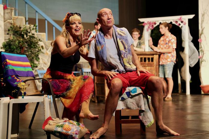 """Christie Freeman as Tanya and Keevin Carter as Harry in the St. James Players production of the hit musical """"Mamma Mia!"""". (Photo: Wendy Morgan)"""