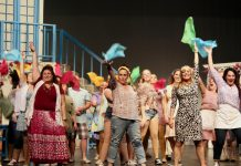 "Lyndele Gauci as Rosie, Natalie Dorsett as Donna, and Christie Freeman as Tanya with the cast of ""Mamma Mia!"" as they perform ABBA's 'Dancing Queen' in the St. James Players production of the hit musical, which runs from November 8 to 16, 2019 at Showplace Performance Centre in downtown Peterborough. (Photo: Wendy Morgan)"