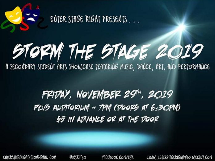Storm the Stage takes place on November 19, 2019 at the PCVS Auditorium in downtown Peterborough. (Graphic  courtesy of Enter Stage Right)