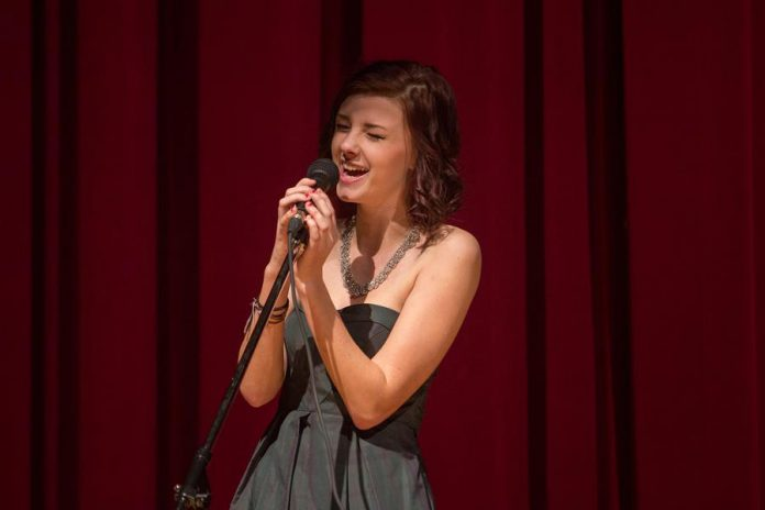 "Lindsay Rudkins singing ""Maybe This Time"" from Cabaret at Storm the Stage in 2015. (Photo courtesy of Enter Stage Right)"