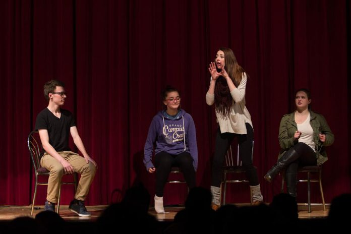 The Time Fillers improv troupe, featuring Zac Houghton, Taylor Gauthier, Ashton Kelly, and Grace Arnold, performing  at Storm the Stage in 2015. (Photo courtesy of Enter Stage Right)