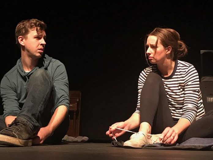 "Chris Whidden and Peyton Le Barr as adopted siblings Aaron and Claire during a rehearsal for the Peterborough Theatre Guild's production of ""Little One"" by Hannah Moscovitch. Directed by Lee Bolton, the one-act play is a dark family drama that raises complex questions about good intentions, irreversible damage, and the nature of love. It ran for five performances in October 2019. (Photo courtesy of Lee Bolton)"