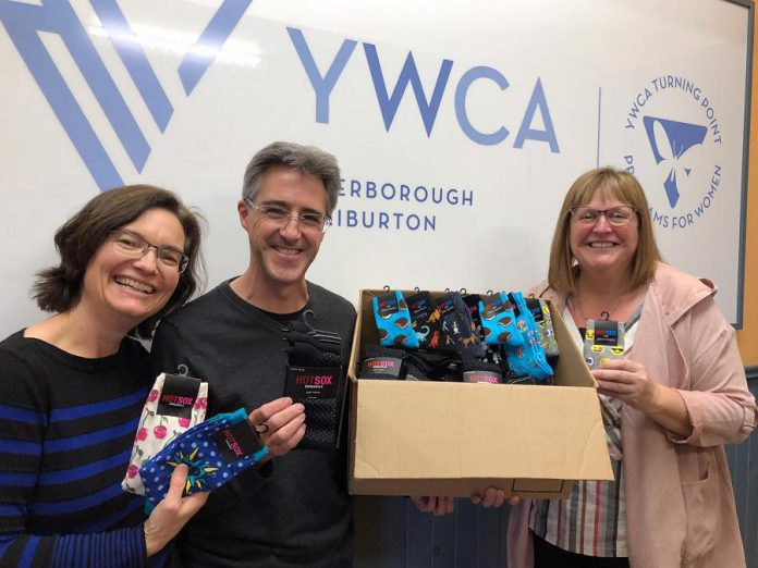 Grady's Feet Essentials of Peterborough recently donated $1,300 worth of socks and footwear to support the YWCA Peterborough Haliburton Holiday Gift Program. (Photo: Grady's Feet Essentials / Facebook)