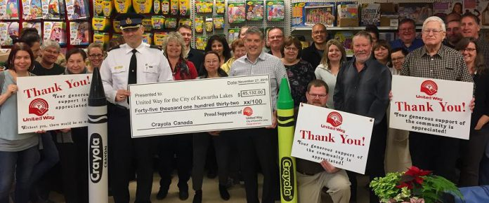 Crayola Canada employees present a cheque for $45,132 to the United Way for the City of Kawartha Lakes on November 27, 2019, representing proceeds raised at the 31st annual Crayola Sale. (Supplied photo)