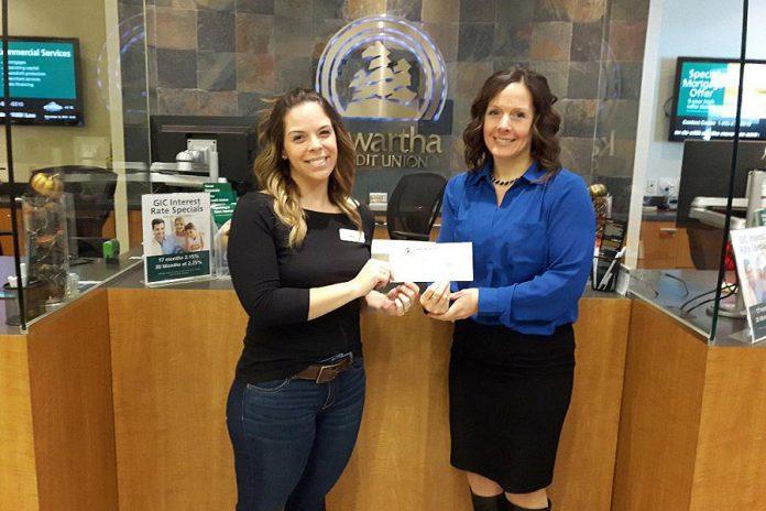 Employees of Kawartha Credit Union's Lindsay branch presented a cheque for $1,350 to the Alzheimer Society Peterborough Kawartha Lakes Northumberland Haliburton. (Photo courtesy of Kawartha Credit Union)