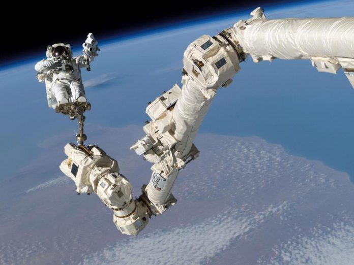 "As well as building the Canadarm for NASA's space shuttle program, Canadian space robotics company MDA Corporation also built the Canadarm2  robotic arm for the International Space Station. Unlike the Canadarm on the shuttle, Canadarm2 is not permanently anchored at one end. This design gives Canadarm2 the ability to ""walk"" around the International Space Station on its own.  (Photo: NASA)"