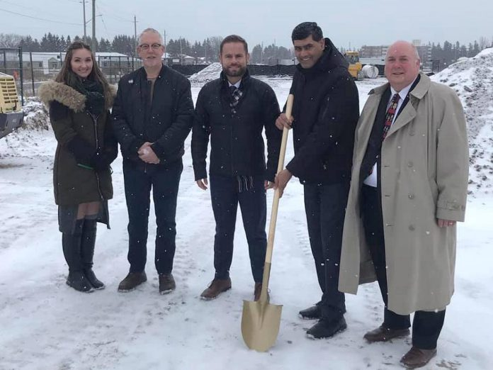 The ground-breaking ceremony for the Hampton Inn hotel to be built in Port Hope, with an expected opening in early 2021. (Photo: Port Hope & District Chamber of Commerce / Facebook)