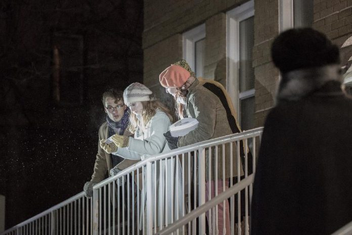 "4th Line Theatre's ""The Fool of Cavan: A Christmas Caper"" outdoor holiday show in Millbrook channels Nancy Drew and Scooby Doo as a teen detective Joanie Sweetnam (Erin Humphry) and her friends Evie (Sarah Flanigan), Billy (Tristan Peirce), and Eddie (Ryan Tobin) follow the clues to discover the identity of the mysterious Fool of Cavan. (Photo: Wayne Eardley / Brookside Studio)"