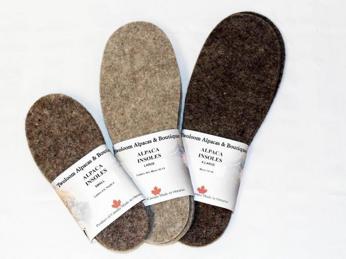Locally made alpaca wool insoles from Twoloom Alpacas. (Photo courtesy of GreenUP)
