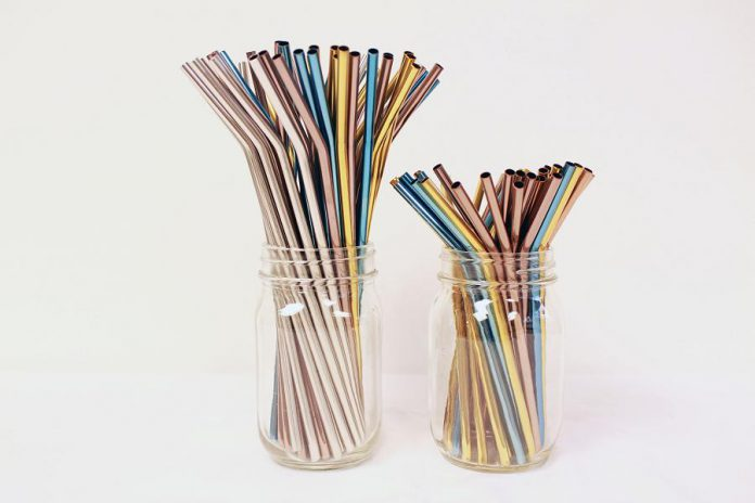 Stainless steel straws are available in a variety of colours.  (Photo courtesy of GreenUP)