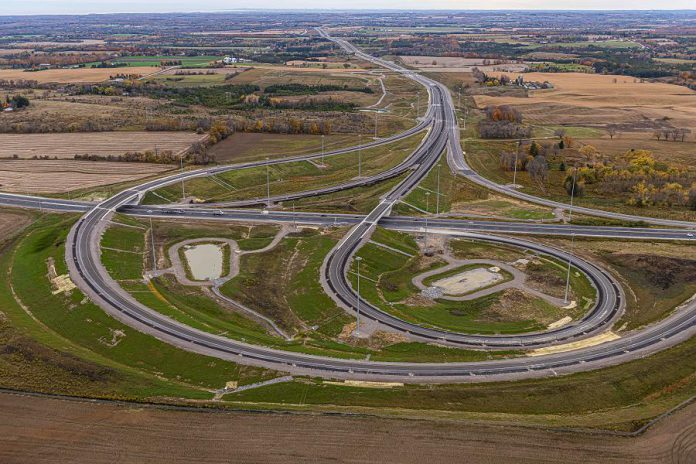 The new interchange between Highway 407 and Highway 35/115 opened to drivers beginning December 9, 2019, ahead of schedule. (Photo: Blackbird Infrastructure Group)