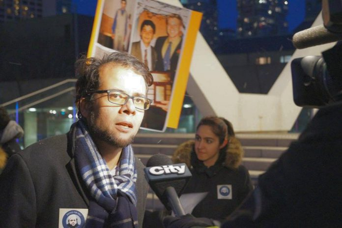 Yusef Faqiri, who has pursued justice for his mentally ill brother Soleiman since his death on December 15, 2016 while in custody at Central East Correctional Facility in Lindsay, speaks to reporters at a 2017 vigil.  (Photo: Justice for Soli)