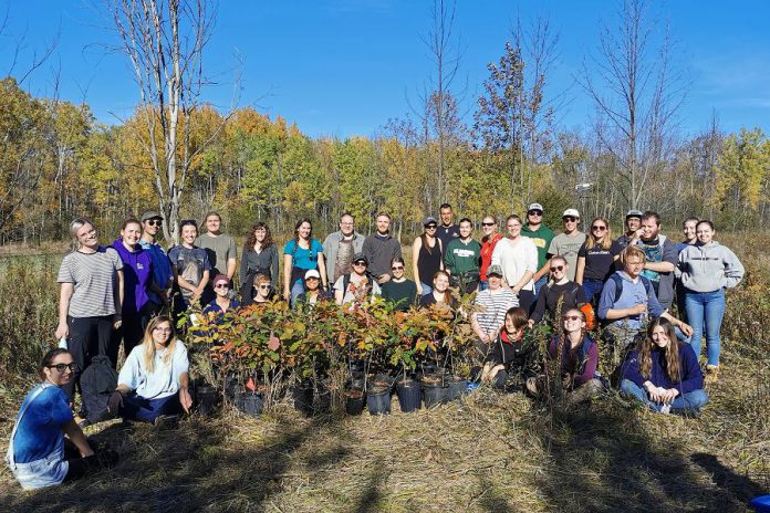Fleming College students preparing to plant trees and shrubs. (Photo courtesy of Kawartha Land Trust)