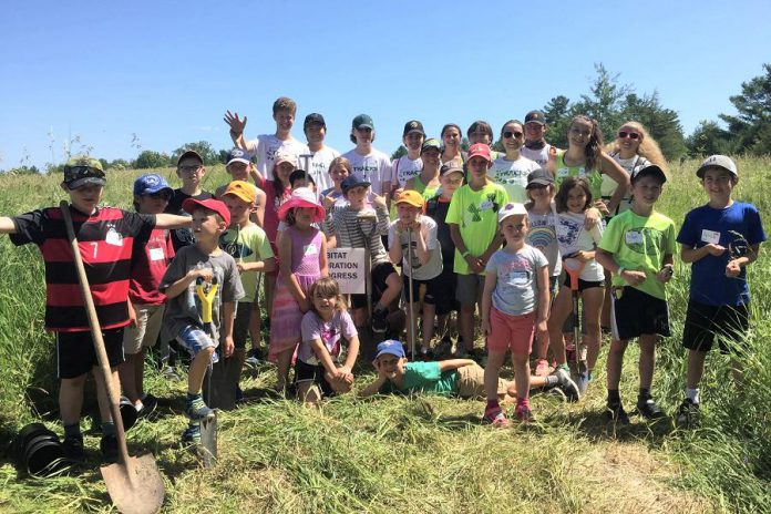 Youth campers from TRACKS participating in in a tall grass restoration initiative at John Earle Chase Memorial Park in Trent Hills, one of the properties protected by Kawartha Land Trust. (Photo courtesy of Kawartha Land Trust)