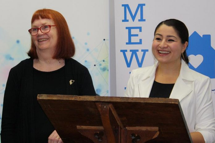 Lynn Zimmer (left), former executive director of YWCA Peterborough Haliburton, has been named to the Order of Canada. Here she is pictured with Peterborough-Kawartha MP and Minister for Women and Gender Equality Maryam Monsef at a March 2019 announcement of $1 million of federal funding for YWCA Peterborough Haliburton to support survivors of gender-based violence in Peterborough. (Photo: Office of Maryam Monsef)