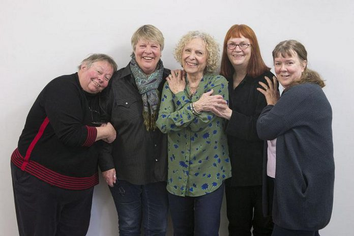 Lynn Zimmer (second from right) with Joice Guspie, Darlene Lawson, Billie Stone, and Martha Ireland, the original founders of Toronto's Interval House, Canada' first crisis shelter for women fleeing domestic violence. The shelter was established in 1973. (Photo: Chris Young / Canadian Press)