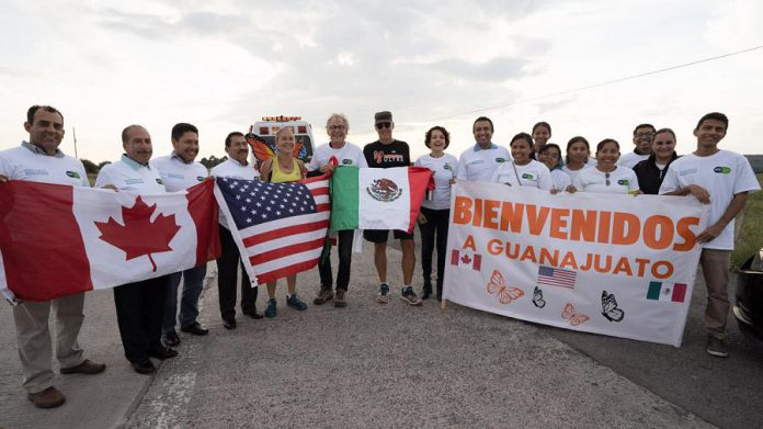 "The Monarch Ultra Team is greeted by the Guanajuato Government in Mexico. The team was ""blown away"" by the support they received from the Mexican government and municipalities. (Photo: Rodney Fuentes)"