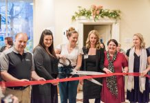 Six new businesses were launched at the December 2019 edition of the Starter Company Plus Showcase. Each entrepreneur received a $5,000 grant to support growth in their business. From left to right: Brett Pritchard (B & B Game Designs), Kristin Cole (Kawartha Complete Care), Katelin Turcotte (Wilde Beauty), Anna Perry (Your Second Family), Nicole Cooke (Organized by Design), and Sonja Martin (Rooted Lavender). Over 50 guests attended the showcase at Showplace Performance Centre on December 5, 2019. (Photo: Alyssa Cymbalista)