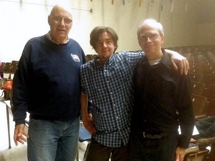 "Writer and director Em Glasspool with Bruce Levia and Bob Forsey, who play the Sun and the Moon in Arbor Theatre's original production ""Real Rad Red Riding Hood"", during a rehearsal in early December at Adam Scott Collegiate Vocational Institute. There will be a public performance of the play  on December 12, 2019 at Showplace Performance Centre in downtown Peterborough. (Photo: Sam Tweedle / kawarthaNOW.com)"
