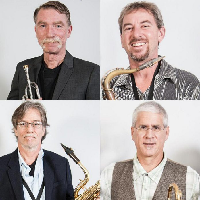 The Rocket Revue horn section (clockwise from top left): Greg Weichel on trumpet, Jim Usher on tenor saxophone, Steve McCracken on tenor/baritone saxophone, and Rob Roy on trombone.  (Photos: The Rocket Revue)