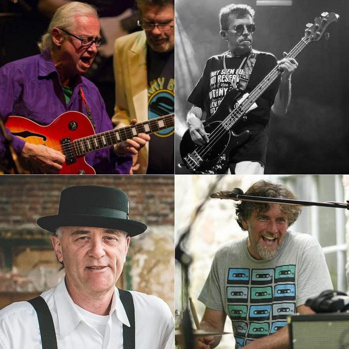 The Rocket Revue's new rhythm section (clockwise from top left): Bobby Watson on guitar, JP Hovercraft on bass, Rob Phillips on keyboards, and John Climenhage on drums.