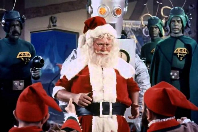 "In the 1964 science-fiction comedy ""Santa Claus Conquers The Martians"", Santa is kidnapped by the denizens of Mars to bring joy to Martian children who have forgotten to have fun."