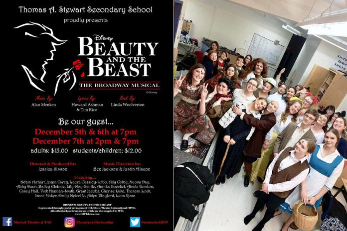 """The cast of """"Beauty and The Beast - The Broadway Musical"""", which runs for four public performances at the high school's auditorium in Peterborough from December 5 to 7, 2019. (Poster/Photo courtesy of Jessica Sisson)"""
