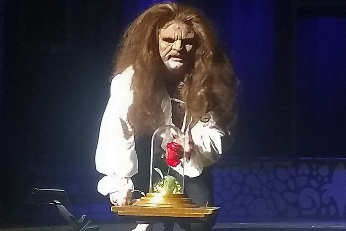 """Aiden Playford in costume as The Beast in Thomas A. Stewart Secondary School's production of """"Beauty and The Beast - The Broadway Musical"""", which runs for four public performances at the high school's auditorium in Peterborough from December 5 to 7, 2019. (Photo: Sam Tweedle / kawarthaNOW.com)"""