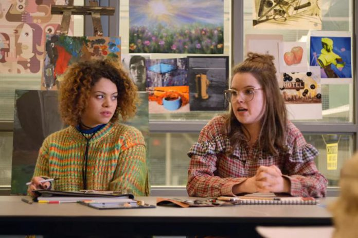 "In the Netflix original series ""October Faction"", Lindsay actress Anwen O'Driscoll (right) plays high school student Cathy MacDonald, a loner who befriends Viv Allen (Aurora Burghart), the teenage daughter of international monster hunters Fred and Deloris Allen. (Photo: Netflix)"