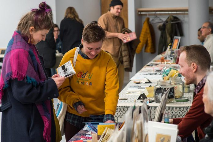 Attendees at the 2019  Artspace Book + Zine Fest. The 2020 event takes place at the Peterborough Public Library on Saturday, February 28th. (Photo courtesy of Artspace)
