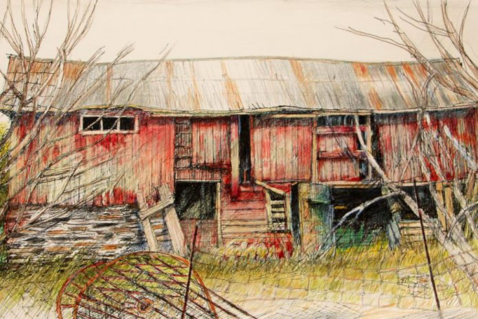 A detail from '#13 Hand-Made Barn' by Peter Large (graphite, coloured pencil and ink on Italian paper) from 'Traces', a collaboration with photographer Felicity Somerset that will be on display at the Art Gallery of Northumberland in January. (Photo courtesy of the artist)