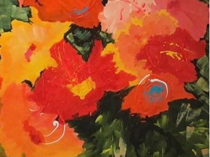 A detail of Valerie Kent's 'La Jeunesse D'été' (acrylic on canvas). (Photo courtesy of the Cavan Art Gallery)