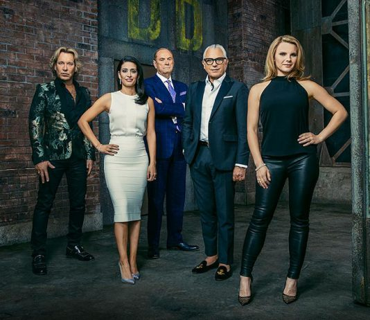 """Manjit Minhas (second from left) on the set of the CBC Television series """"Dragons' Den"""" with her fellow Dragons. Described on her website as """"mother, beer baroness, entrepreneur, Dragon"""", Manjit will be speaking at the Innovation Cluster's Electric City Talks series at Showplace Performance Centre in Peterborough on March 10, 2020 in celebration of International Women's Day. The event is sponsored by Fleming College and will be free for all Fleming College students and $10 for members of the public. (Photo: CBC)"""